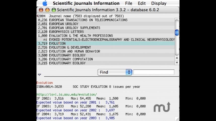 Scientific Journals Information for Mac - review, screenshots