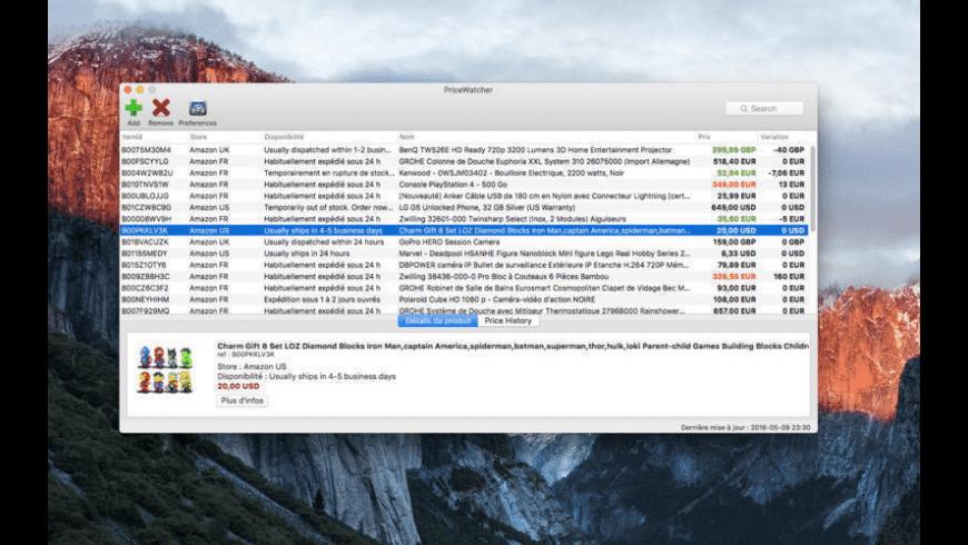 PriceWatcher for Mac - review, screenshots