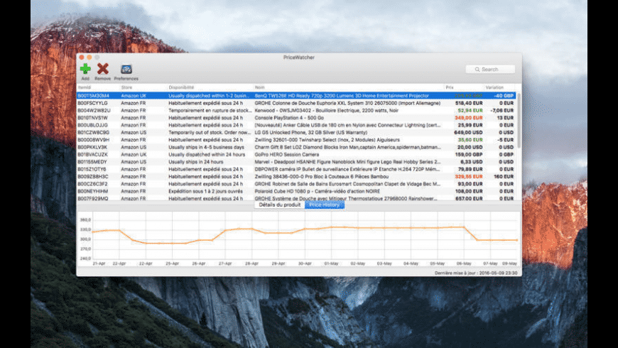PriceWatcher for Mac - review, screenshots