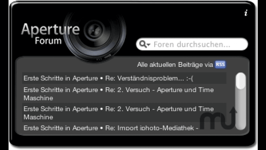 Apertureforum Widget for Mac - review, screenshots