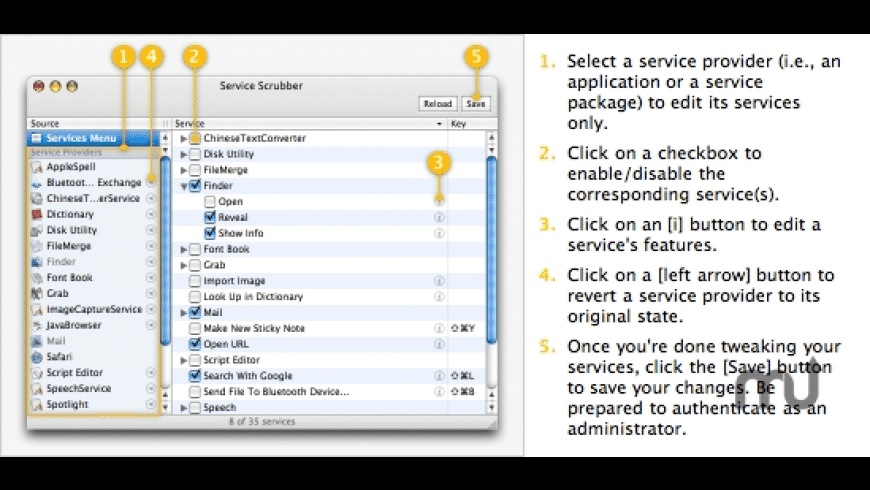 Service Scrubber for Mac - review, screenshots