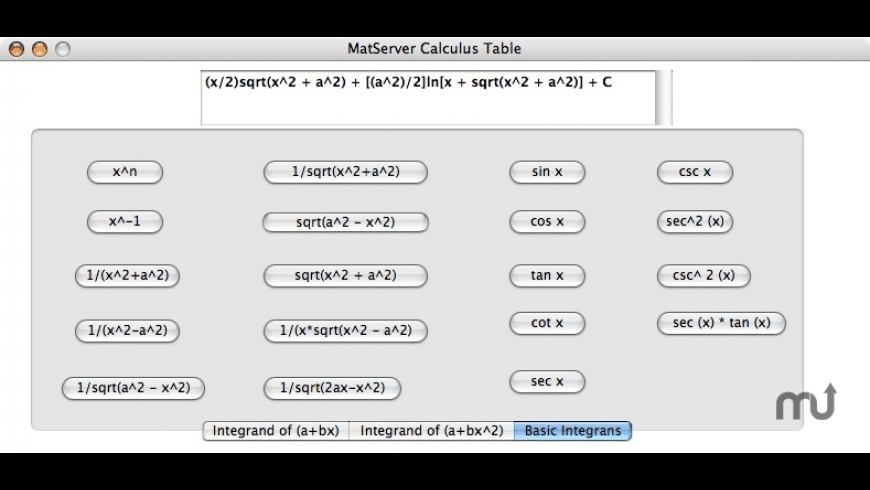 MatServer Calculus Table for Mac - review, screenshots