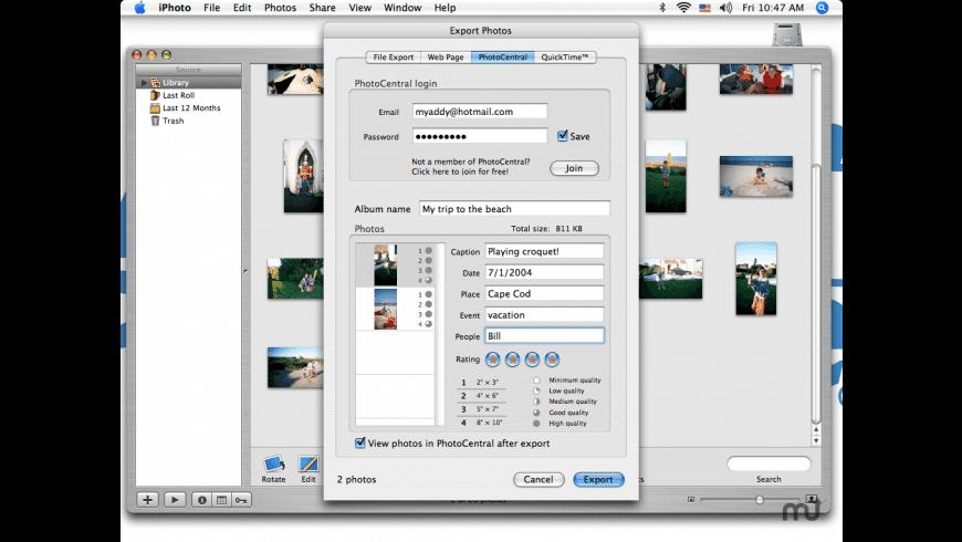 PhotoCentralExport for Mac - review, screenshots