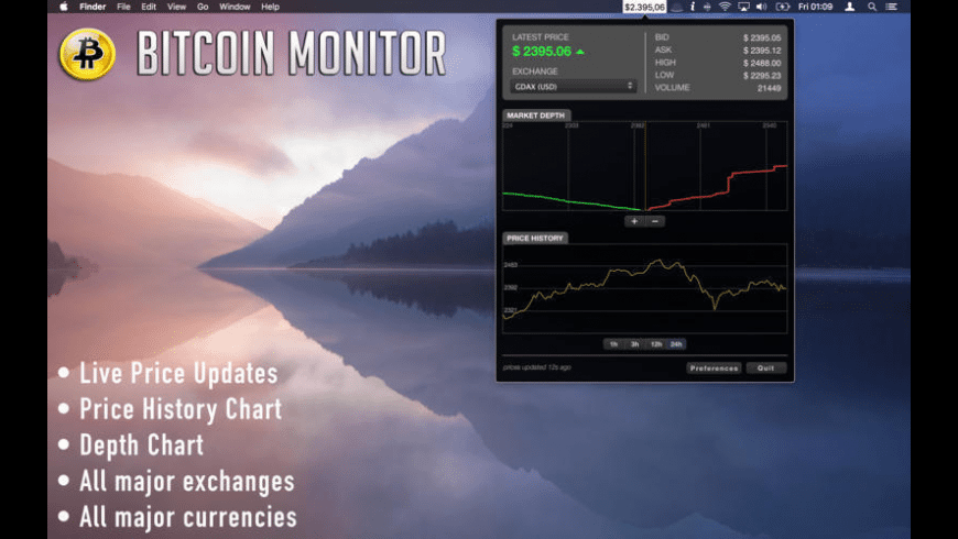 Bitcoin Monitor X for Mac - review, screenshots