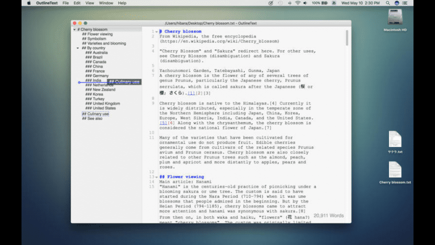 OutlineText for Mac - review, screenshots