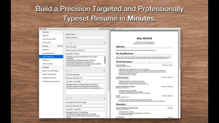 Resume Star for Mac - review, screenshots