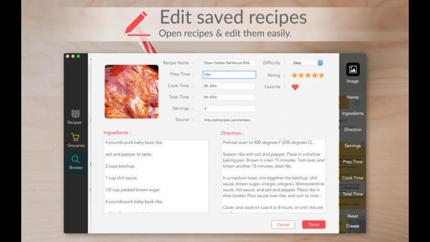 Recipes for Mac - review, screenshots