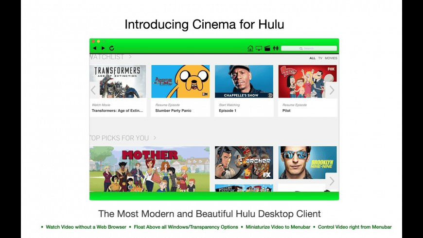 Cinema for Hulu for Mac - review, screenshots