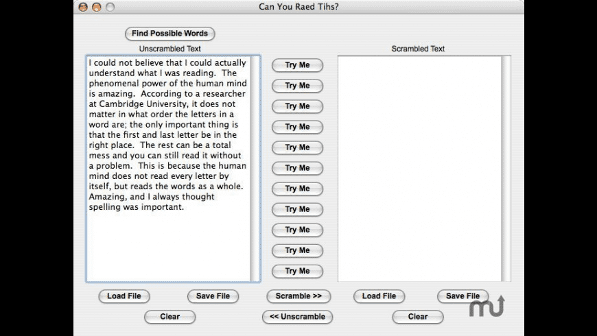 Can You Raed Tihs? for Mac - review, screenshots