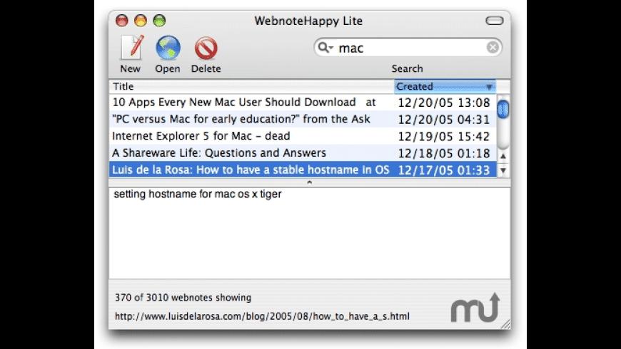 Webnote Lite for Mac - review, screenshots