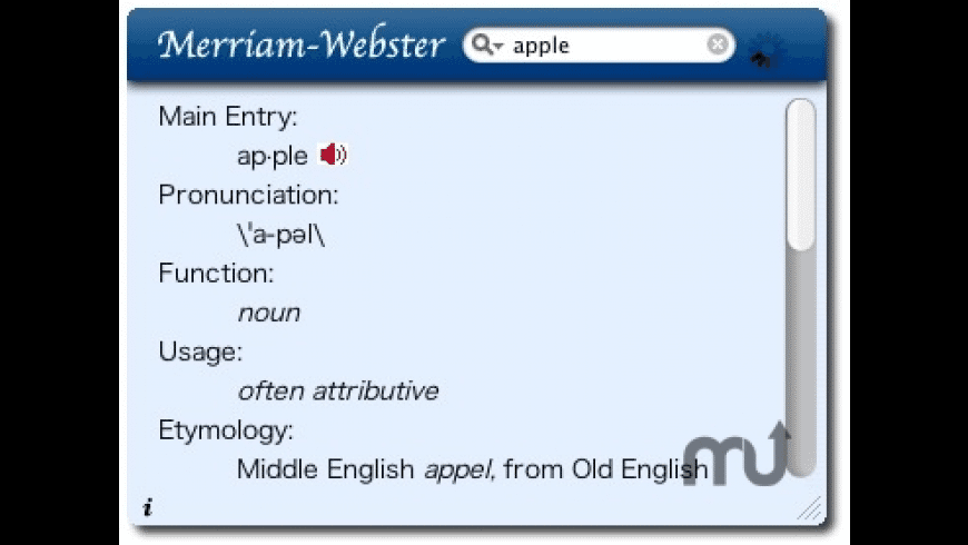 Merriam-Webster Dictionary Widget for Mac - review, screenshots