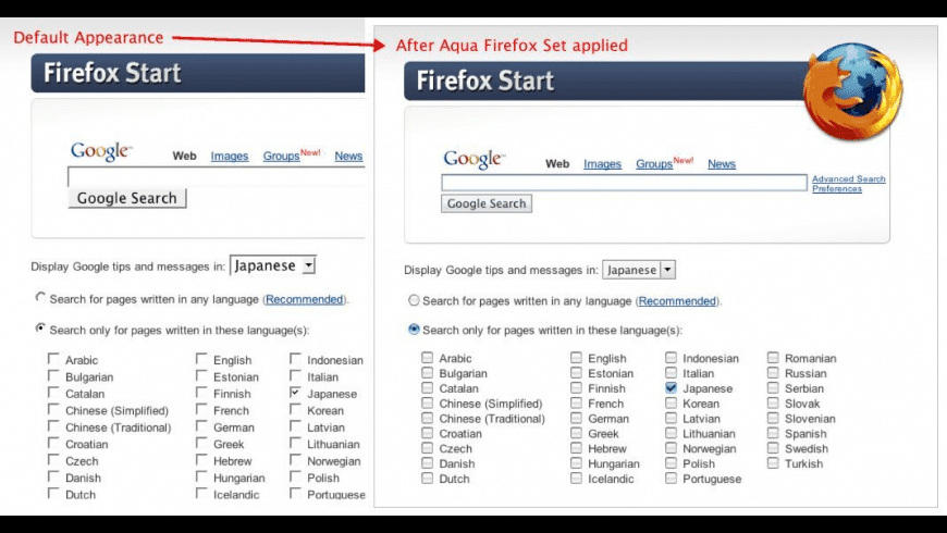 Aqua Firefox Set for Mac - review, screenshots