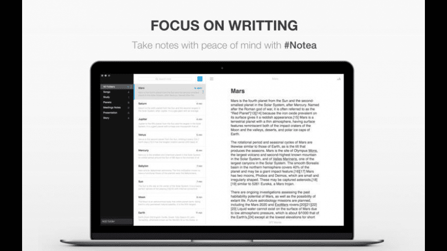 Notea for Mac - review, screenshots