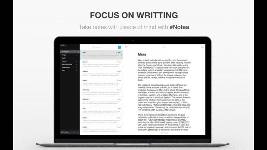 Notea for Mac - review, screenshots