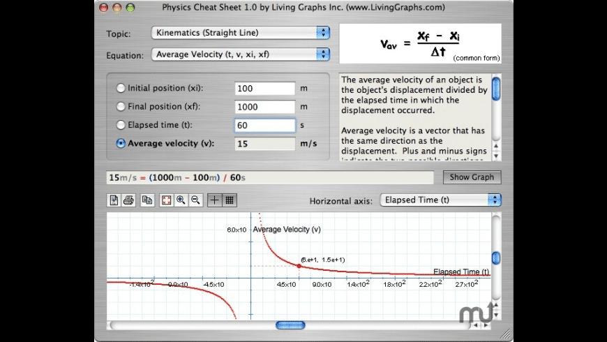 Physics Cheat Sheet for Mac - review, screenshots