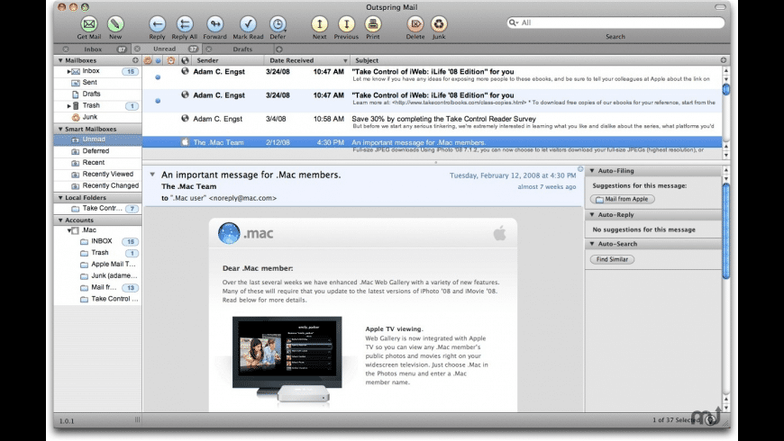 Outspring Mail for Mac - review, screenshots