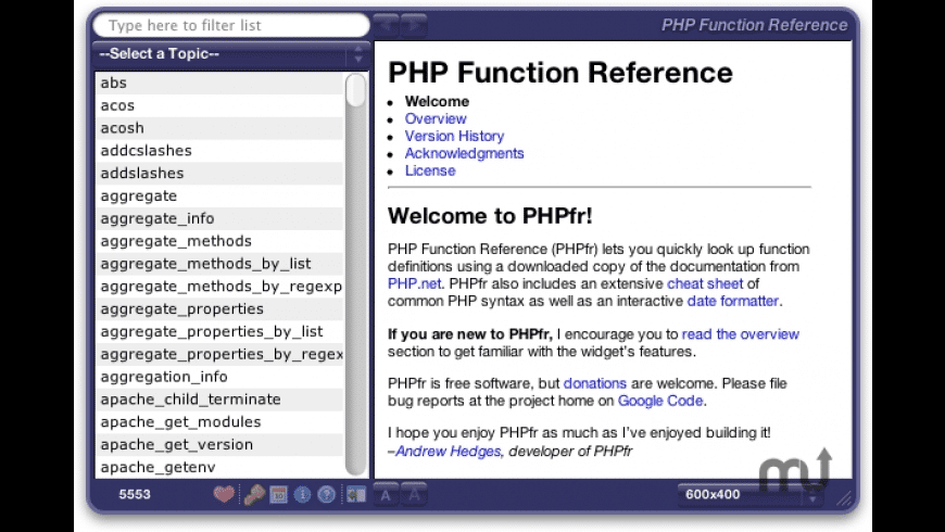 PHP Function Reference for Mac - review, screenshots
