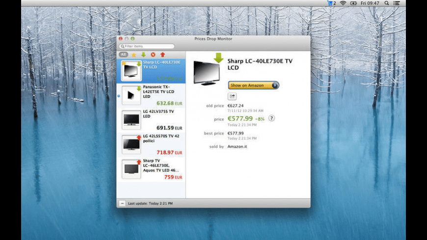 Prices Drop Monitor for Amazon for Mac - review, screenshots