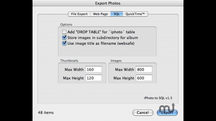 iPhoto To SQL for Mac - review, screenshots