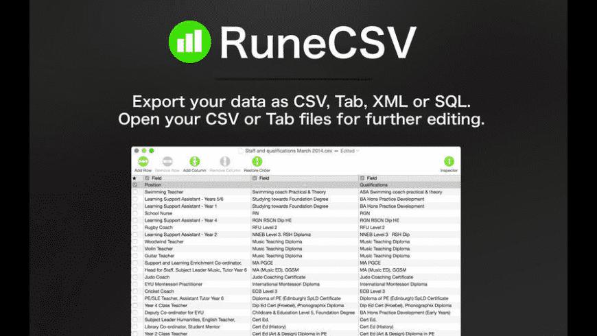 RuneCSV for Mac - review, screenshots