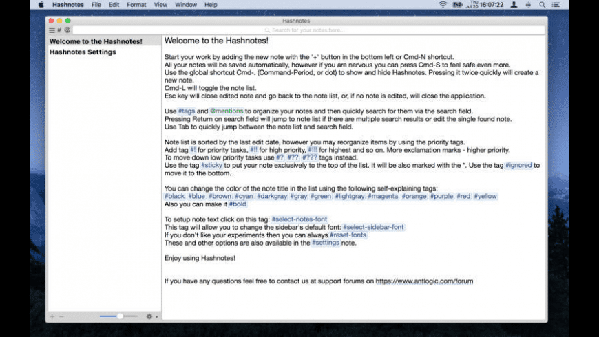 Hashnotes for Mac - review, screenshots