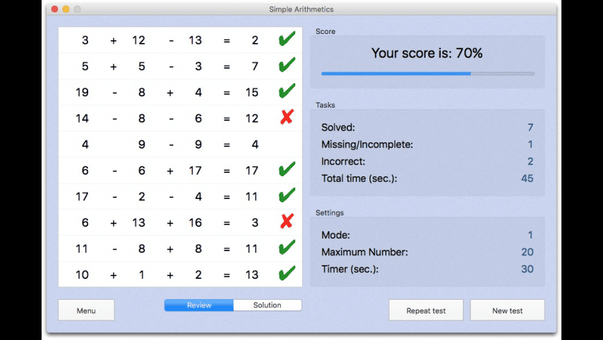 Simple Arithmetics for Mac - review, screenshots
