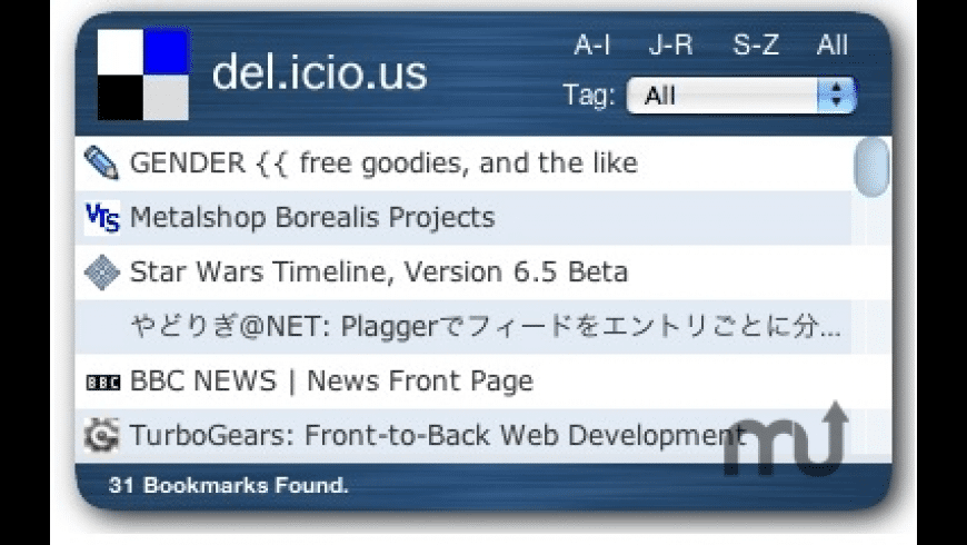Del.icio.us Widget for Mac - review, screenshots