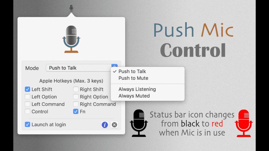 Push Mic Control for Mac - review, screenshots