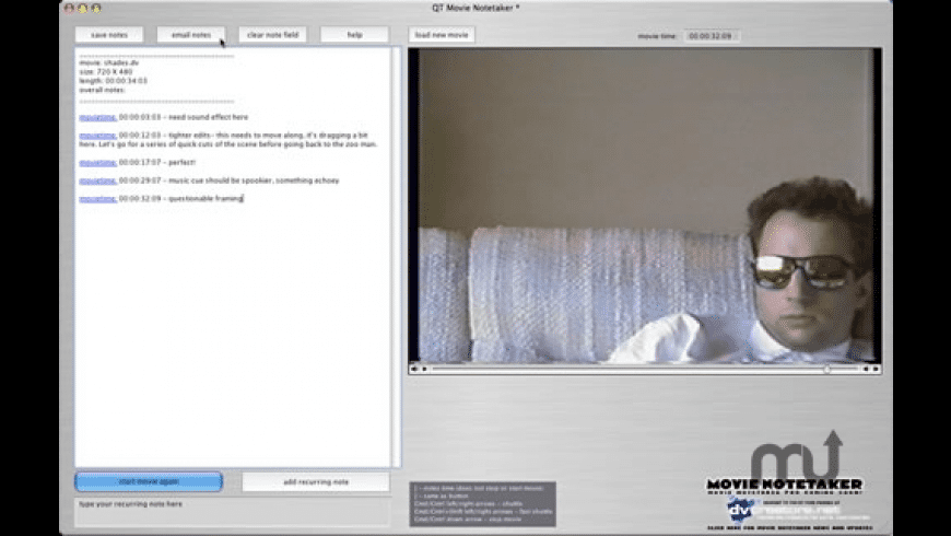 QT Movie NoteTaker for Mac - review, screenshots
