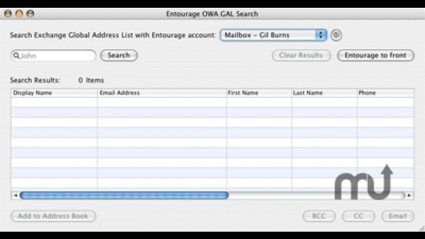 OWA GAL Search for Mac - review, screenshots