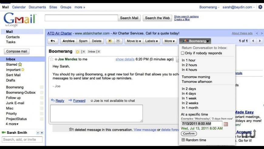 Boomerang for Gmail for Mac - review, screenshots