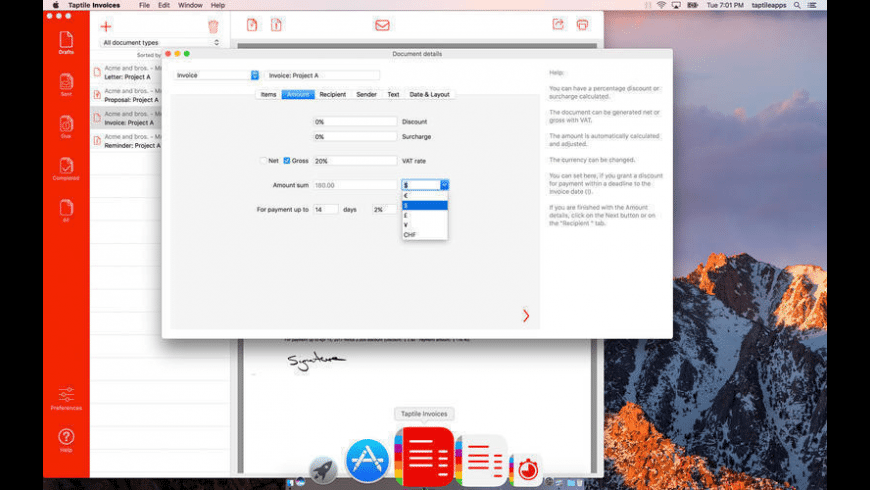 Taptile Invoices for Mac - review, screenshots