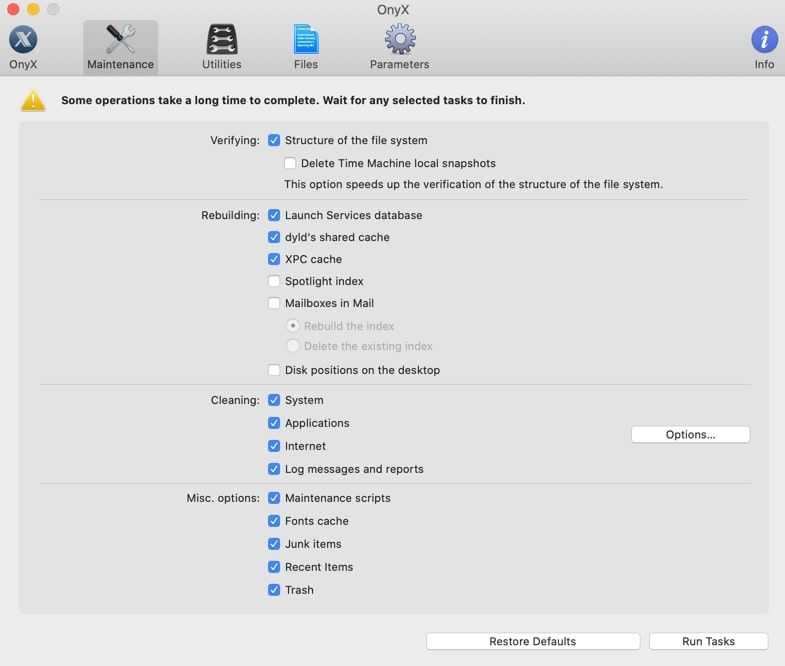 Onyx - the best Cleaners for Mac